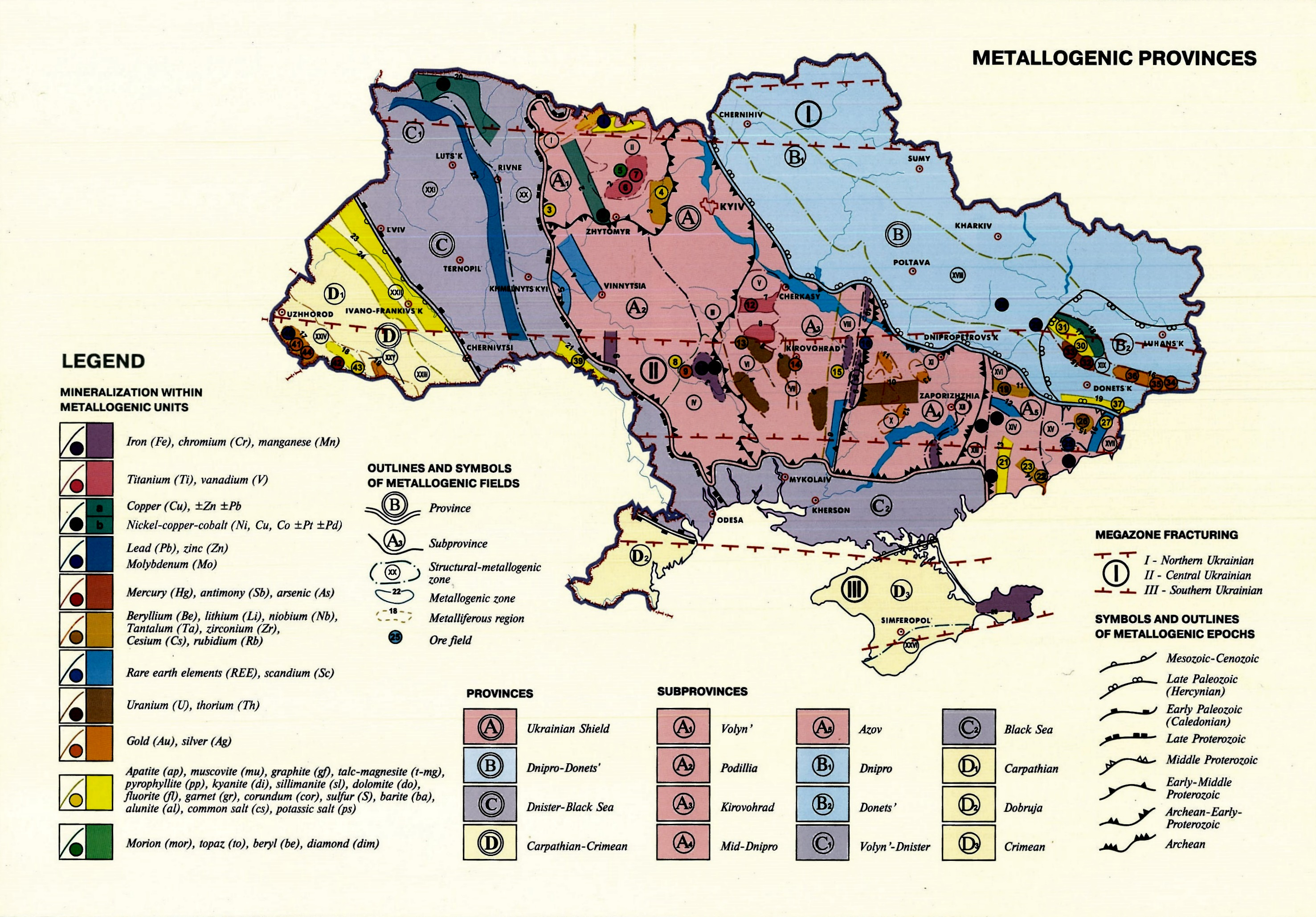 Metallogenic map of Ukraine